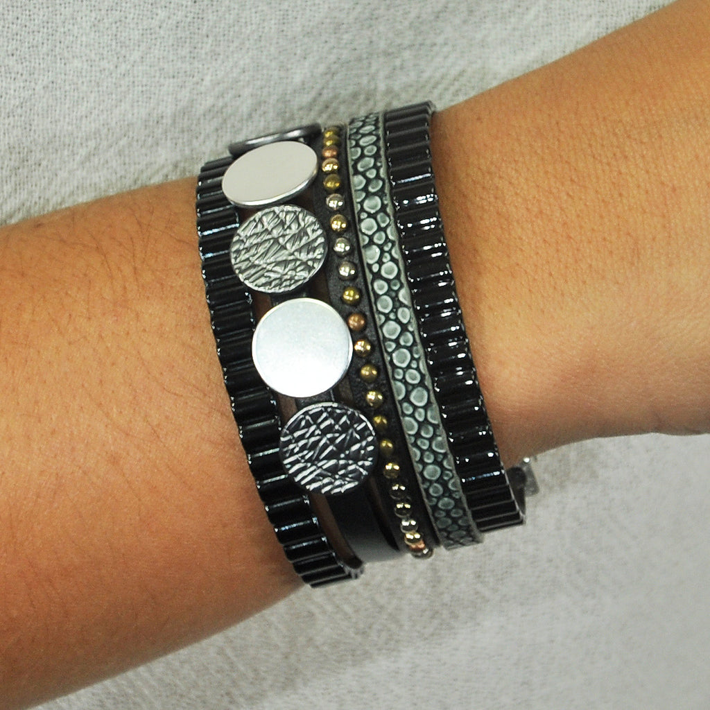 Leather Bracelet w/ Gunmetal & Silver Details