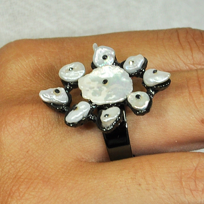Gunmetal Ring w/ Mother of Pearl
