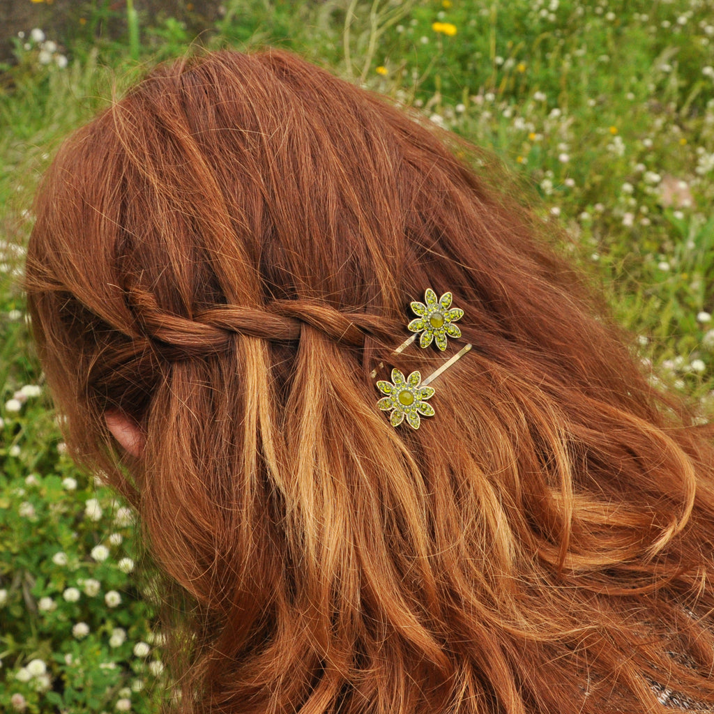 Green Crystals Hairclip