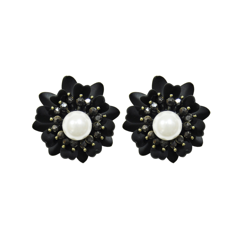 Black Flower Earrings with Crystals and Pearl