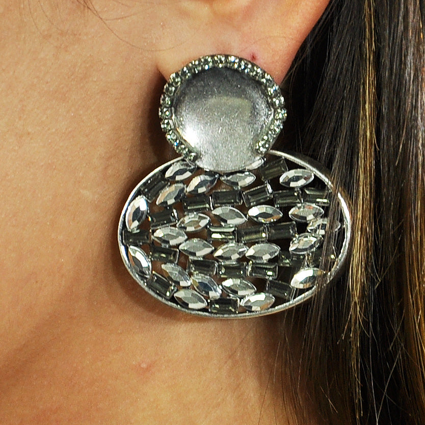 Silver Earrings w/ Crystals