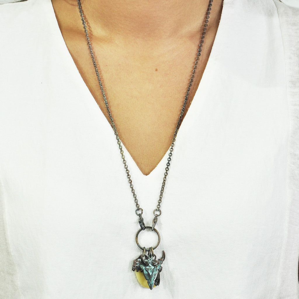 Bronze & Blue Necklace with Pendants