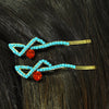 Blue & Red Crystal Hairclip