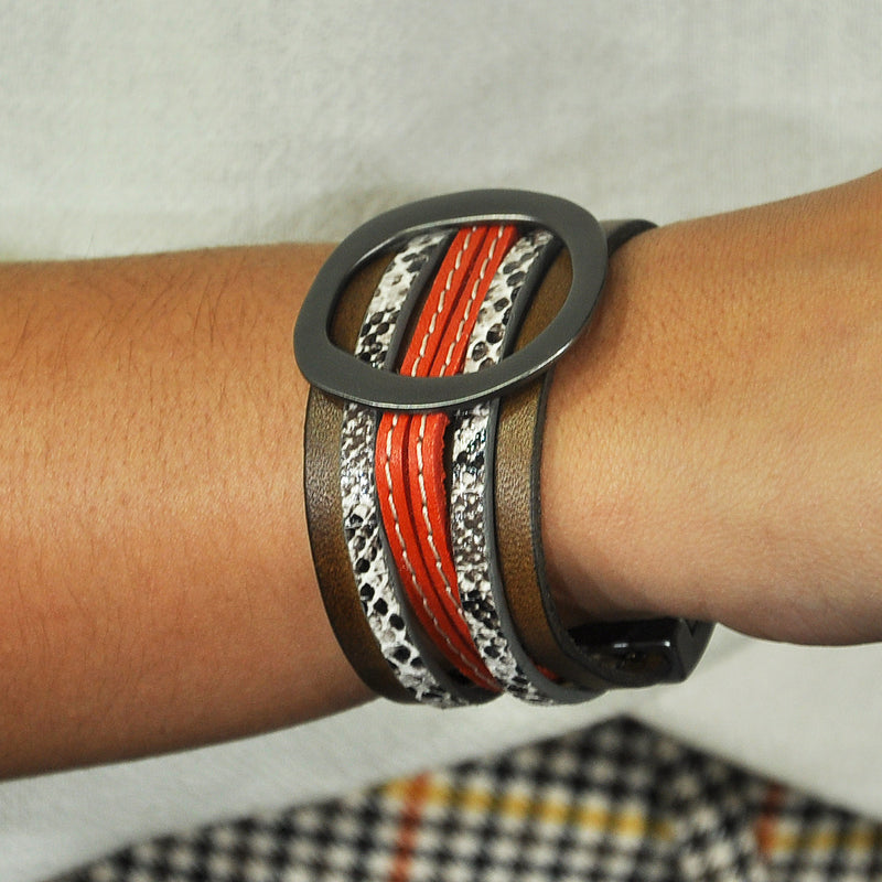 Leather & Gunmetal Bracelet