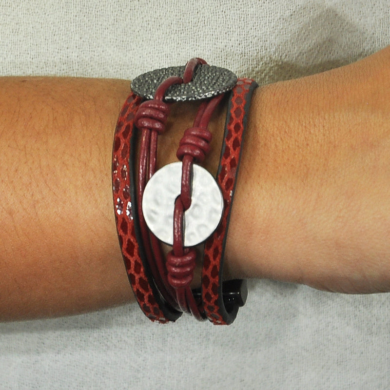 Red leather bracelet with gunmetal shapes
