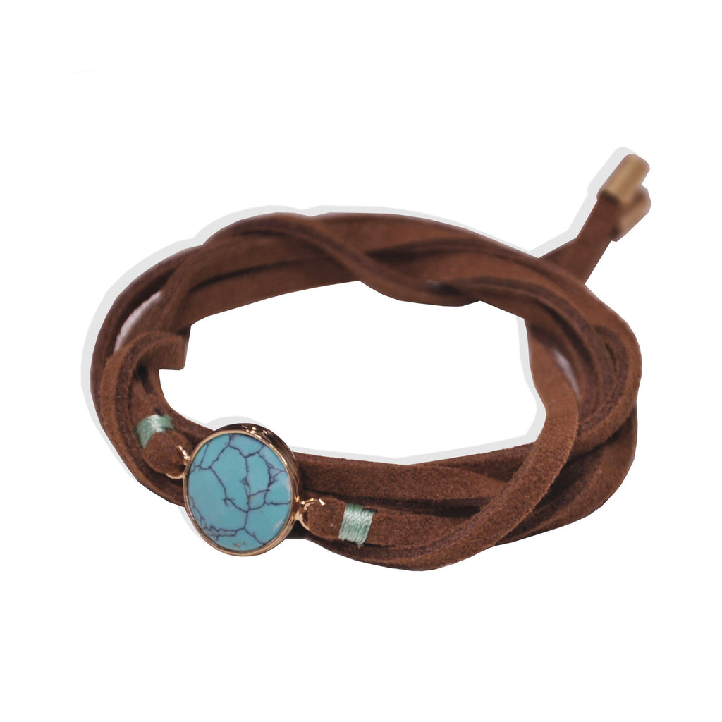 Brown Bracelet & Choker with Blue Pendant