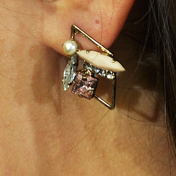 Pink Earrings with Crystals & Pearl