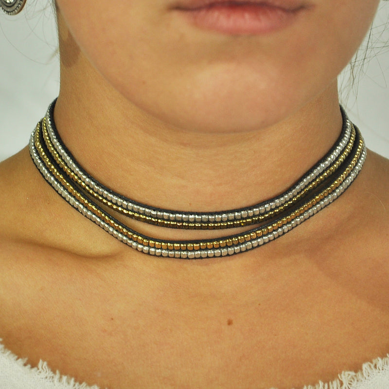 Black Bracelet/Choker w/ Metal Beads