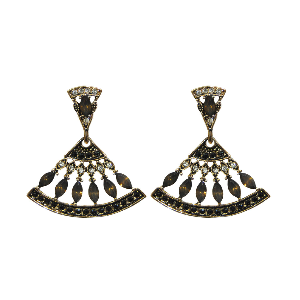 Gold Earrings with Crystals