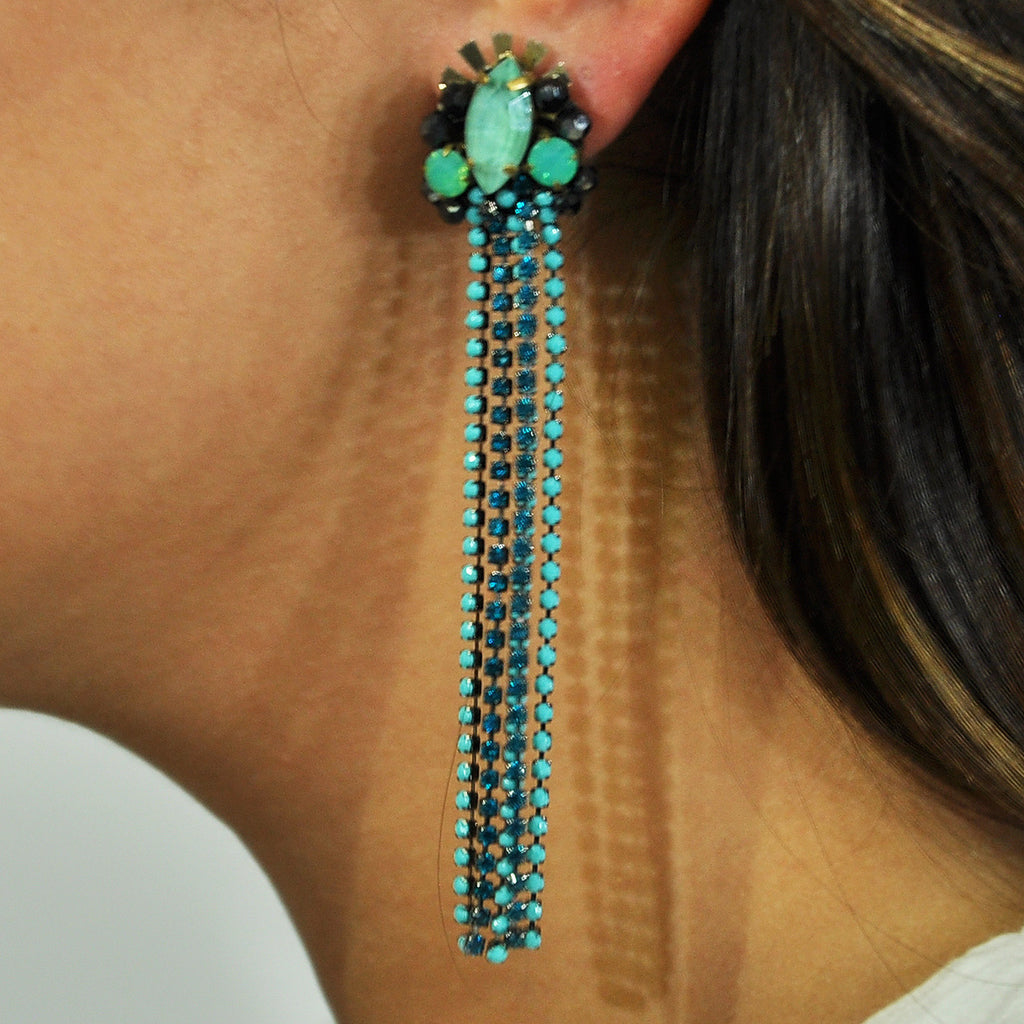 Blue & Turquoise Crystal Earrings