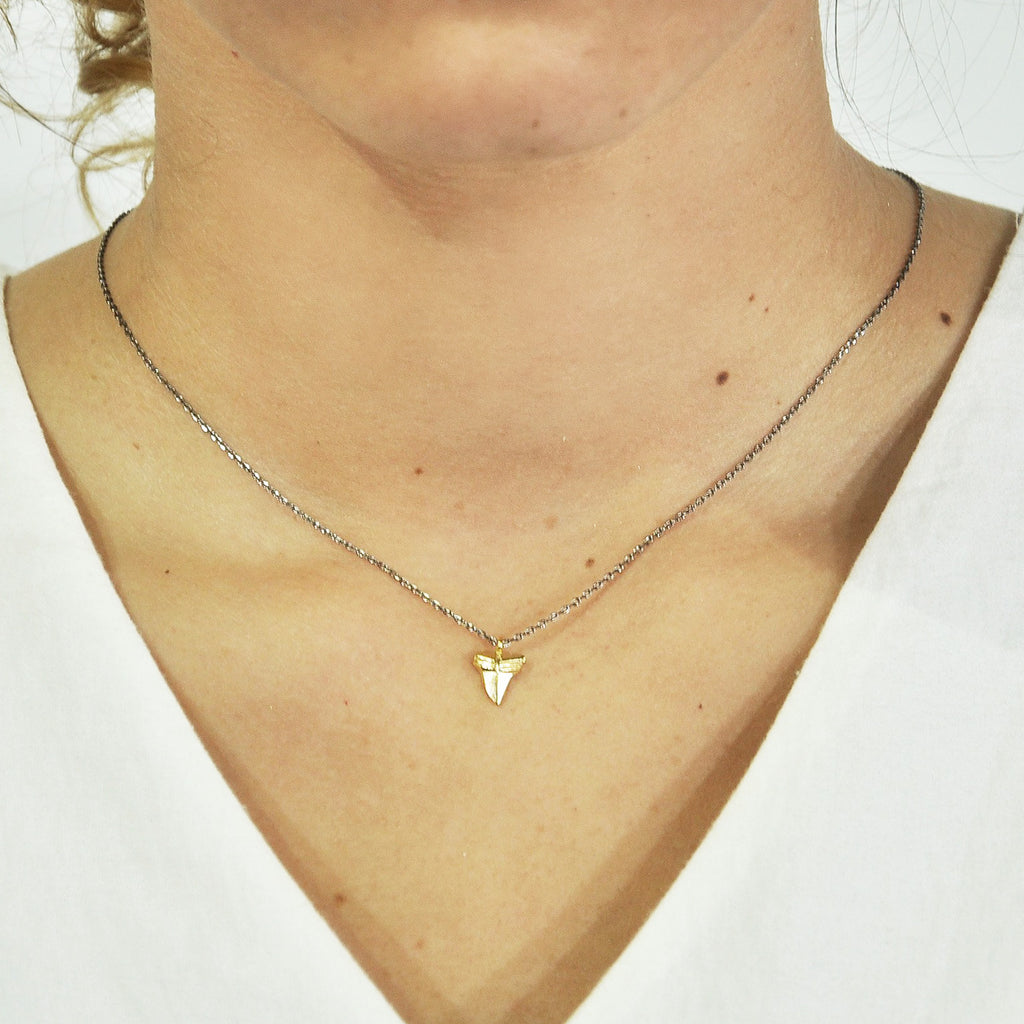 Gunmetal Necklace w/ Golden Tooth