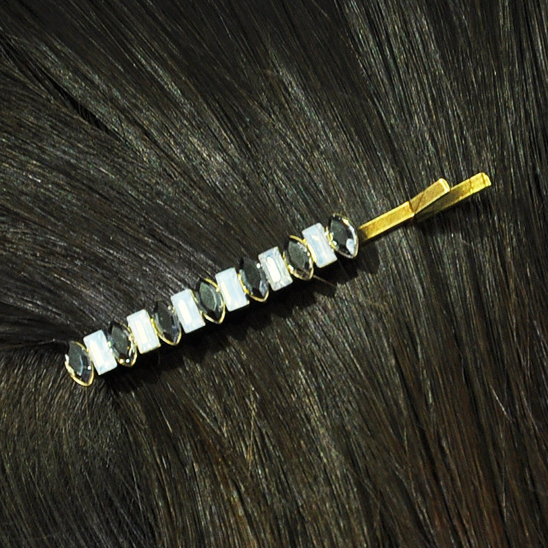 Grey & White Crystal Hairclip