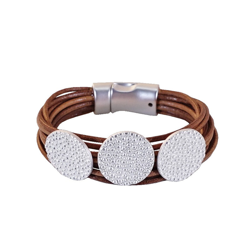 Leather Bracelet w/ round shapes