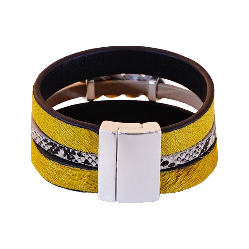 Yellow leather bracelet