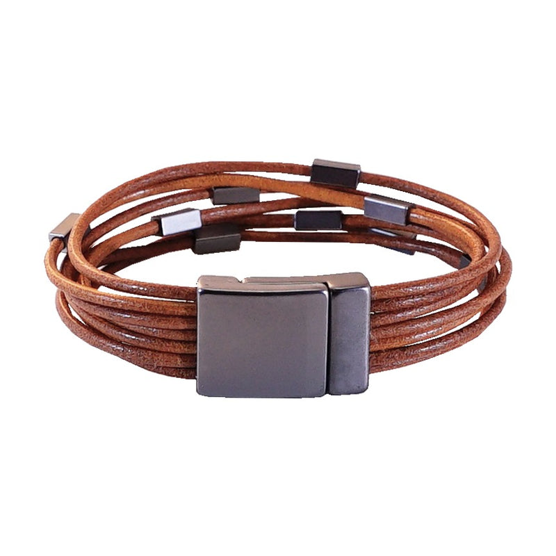 Leather bracelet w/ Gunmetal shapes
