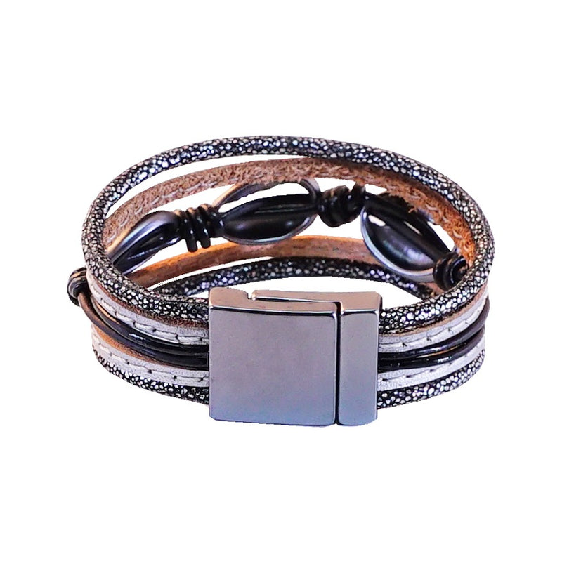 Leather bracelet w/ Gunmetal Conch