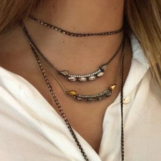 Gunmetal Necklace w/ Crystals
