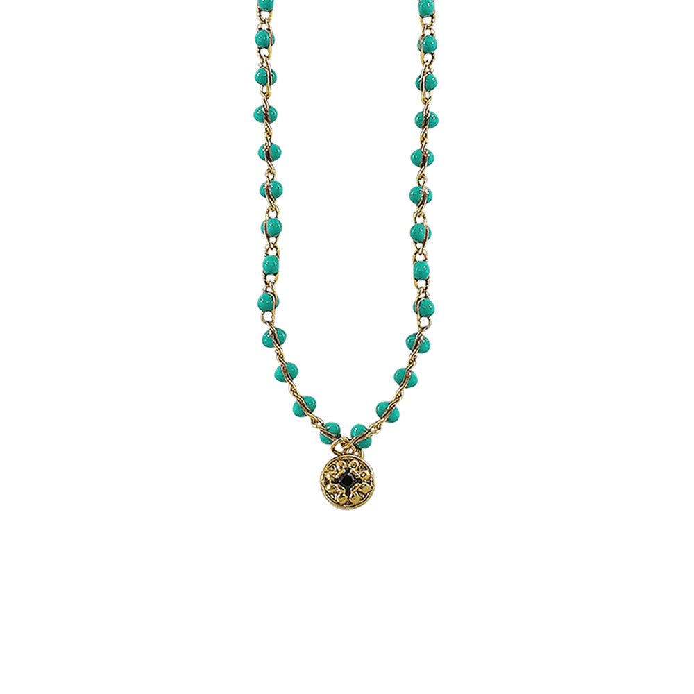 Golden Necklace w/ Green Beads