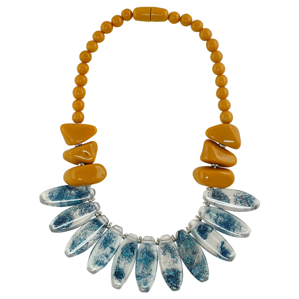 Yellow & Transparent Resin Necklace