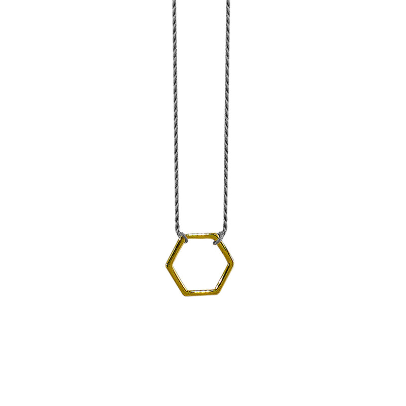 Grey Silk String w/ Golden Hexagon