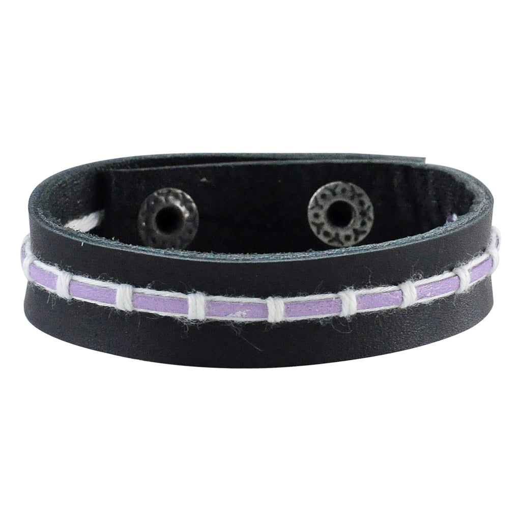 Black Leather Bracelet w/ Purple Detail