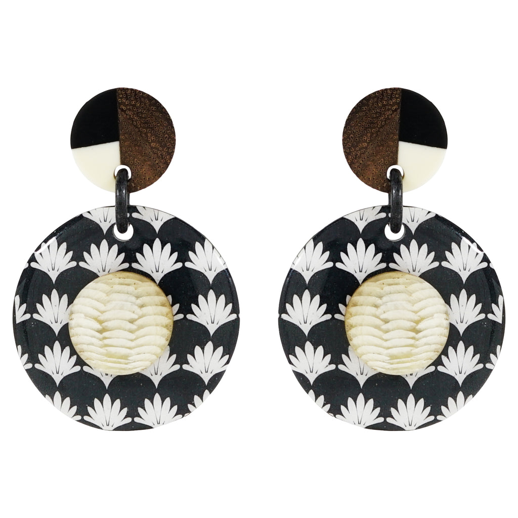 Patterned Earrings w/ Horn Detail