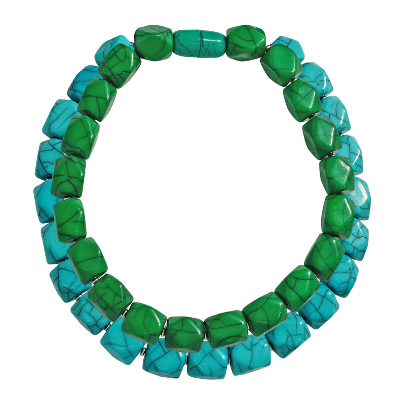 Blue & Green Resin Double Necklace