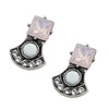 White, Pink & Silver Crystal Earrings