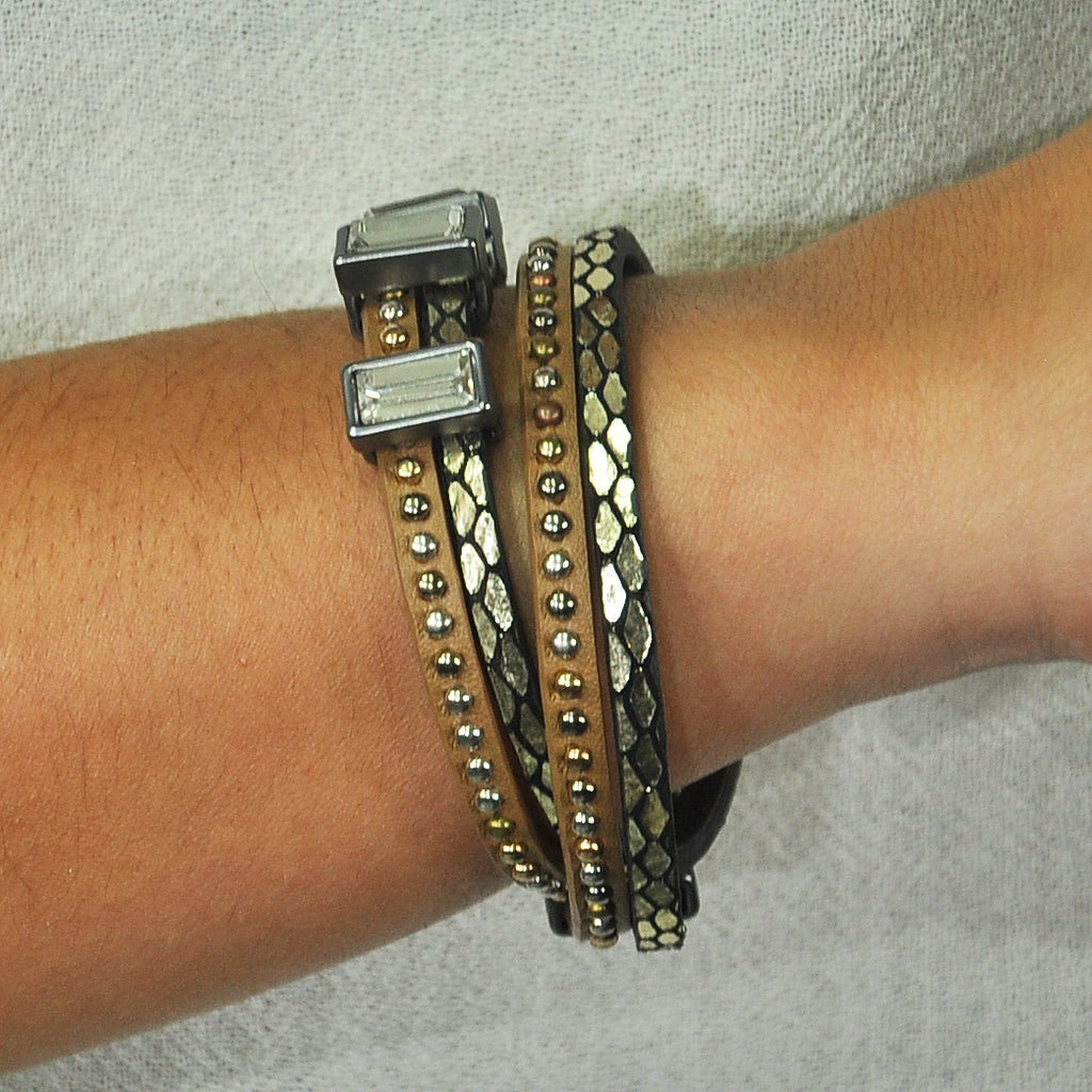 Brown & Black Bracelet w/ Crystals