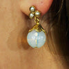 Golden Earrings w/ Translucid Jade Stone & Cultured Pearls