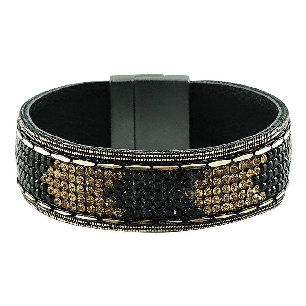 Gunmetal Bracelet w/ Black & Golden Crystals