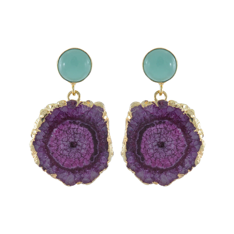 Purple Stone Earrings w/ Blue Crystal