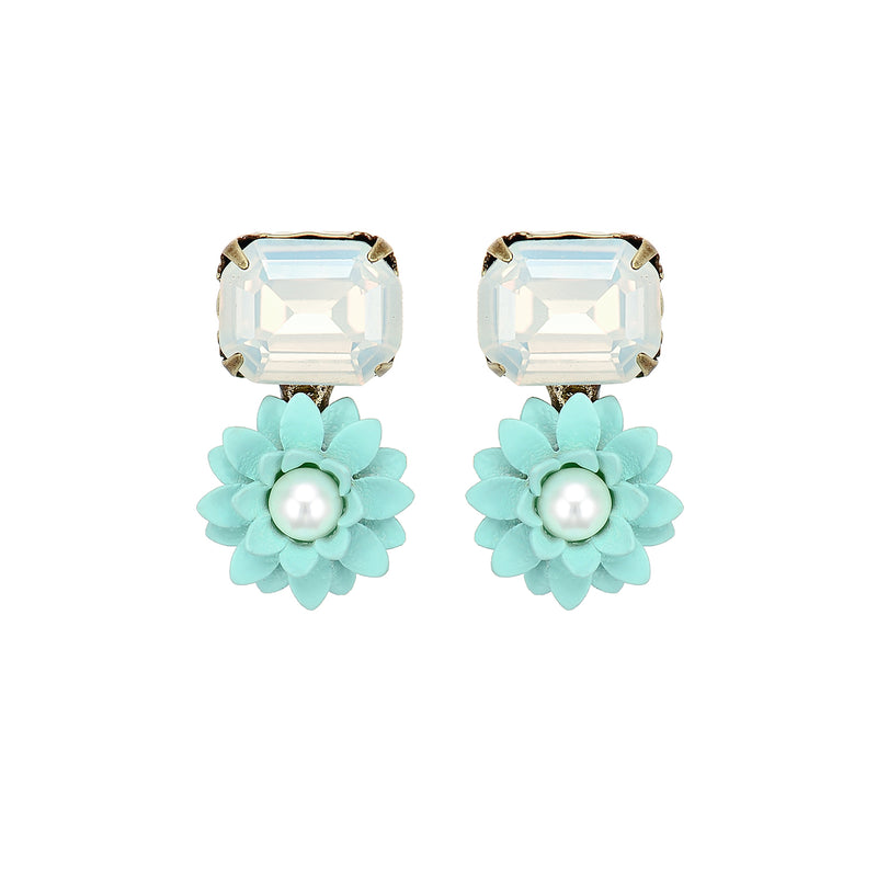 Blue Flower Earrings w/ Crystal