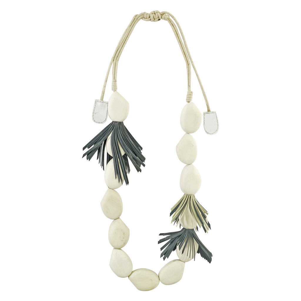 Wooden Necklace w/ Fringes