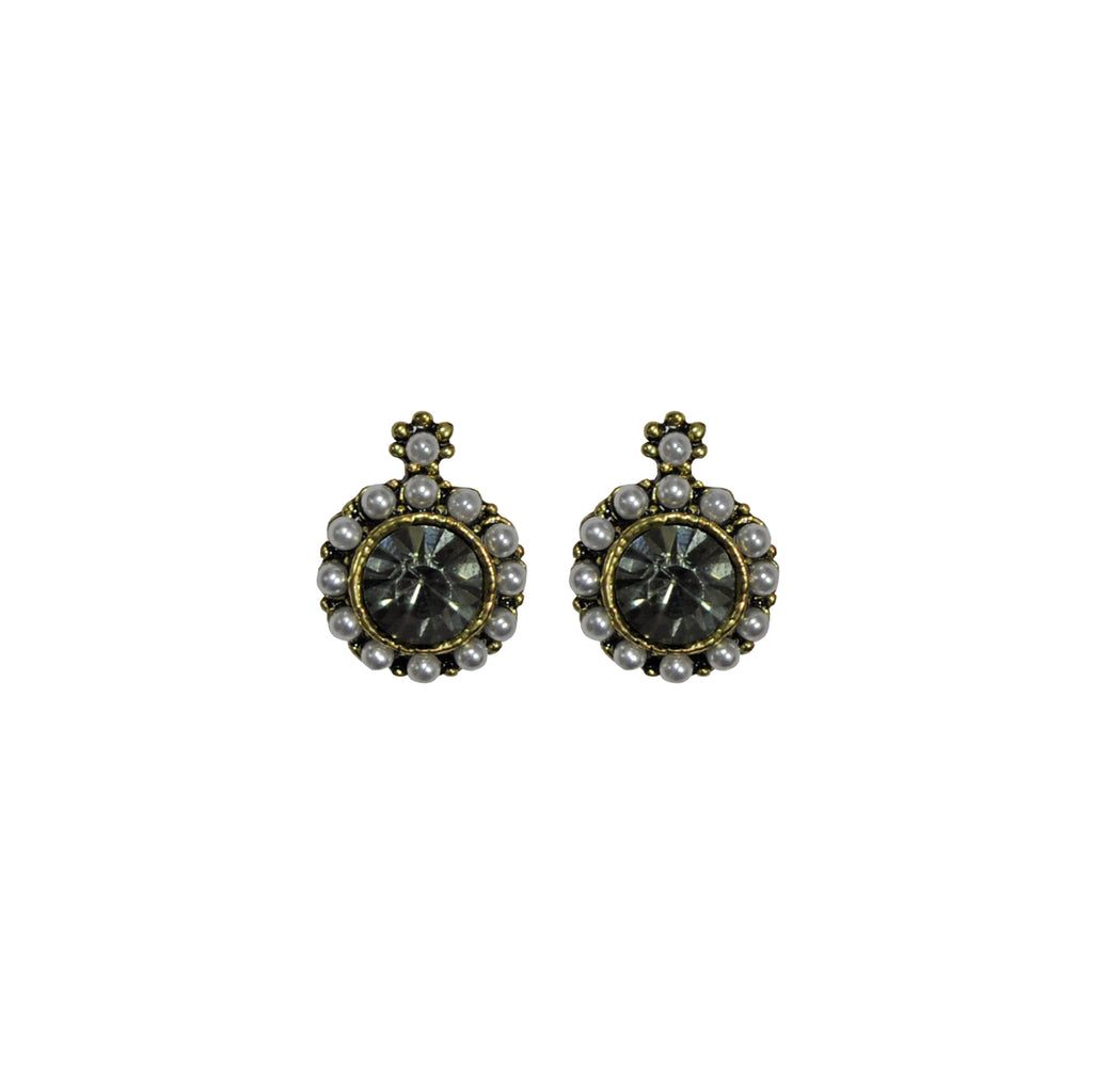 Dark grey crystal earrings with pearls