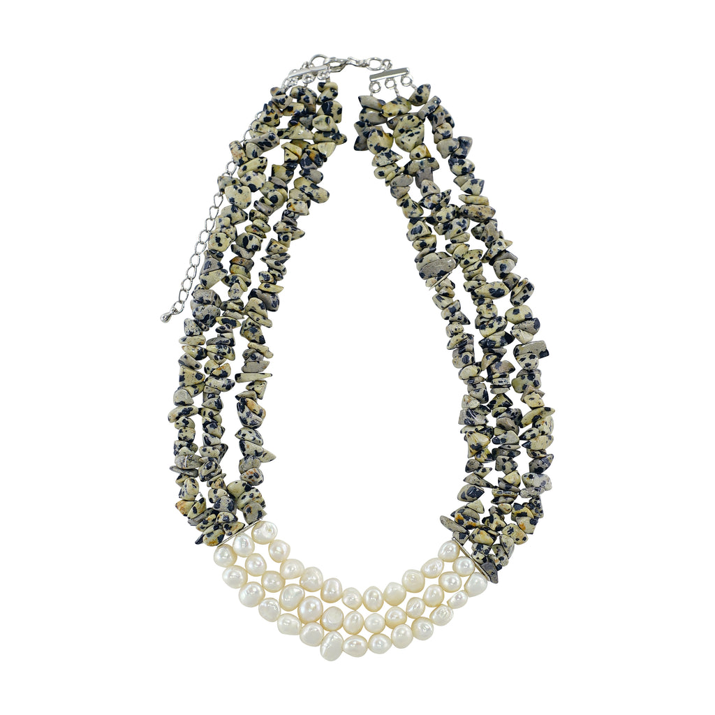 Stone Necklace w/ Cultured Pearls