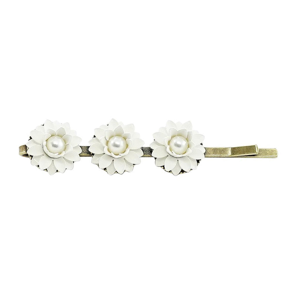 Brass Hairclip w/ White Flowers