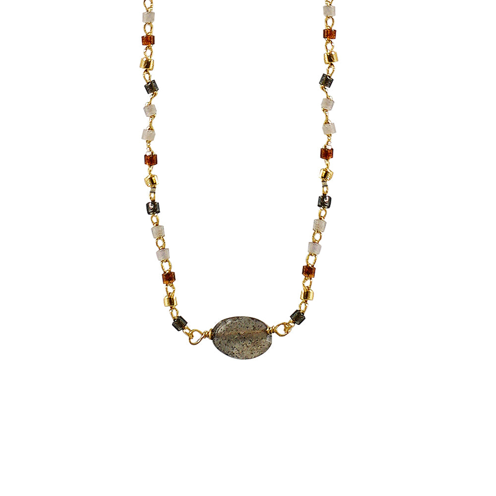 Multicolored Necklace w/ Grey Stone