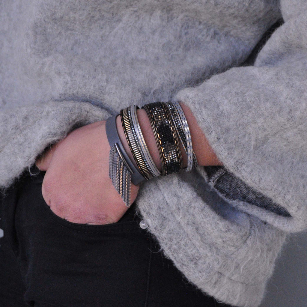 Grey Bracelet with Fringe