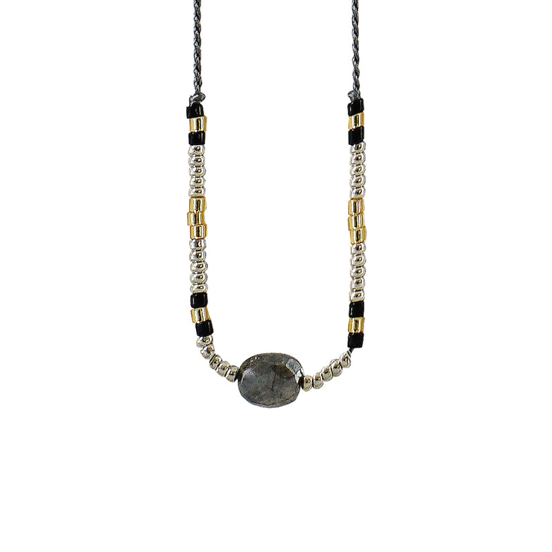Grey Necklace w/ Grey Stone