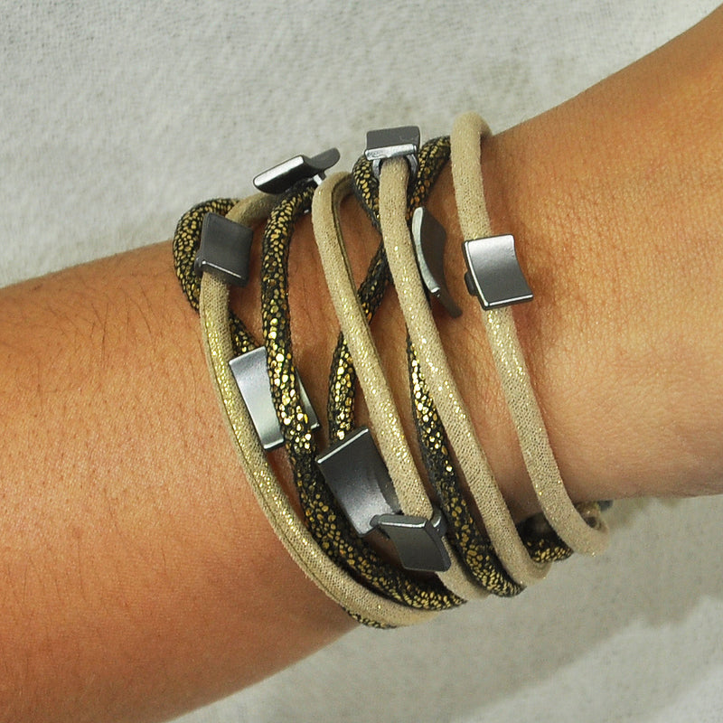 Beige Bracelet w/ Patterns & Gunmetal Pieces
