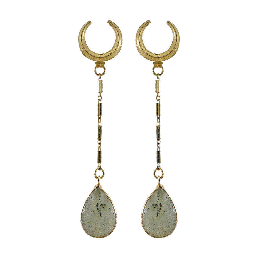 Crescent Earrings w/ Stone