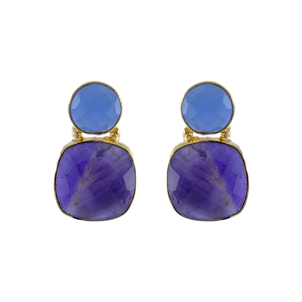 Golden Earrings w/ Blue & Purple Crystals