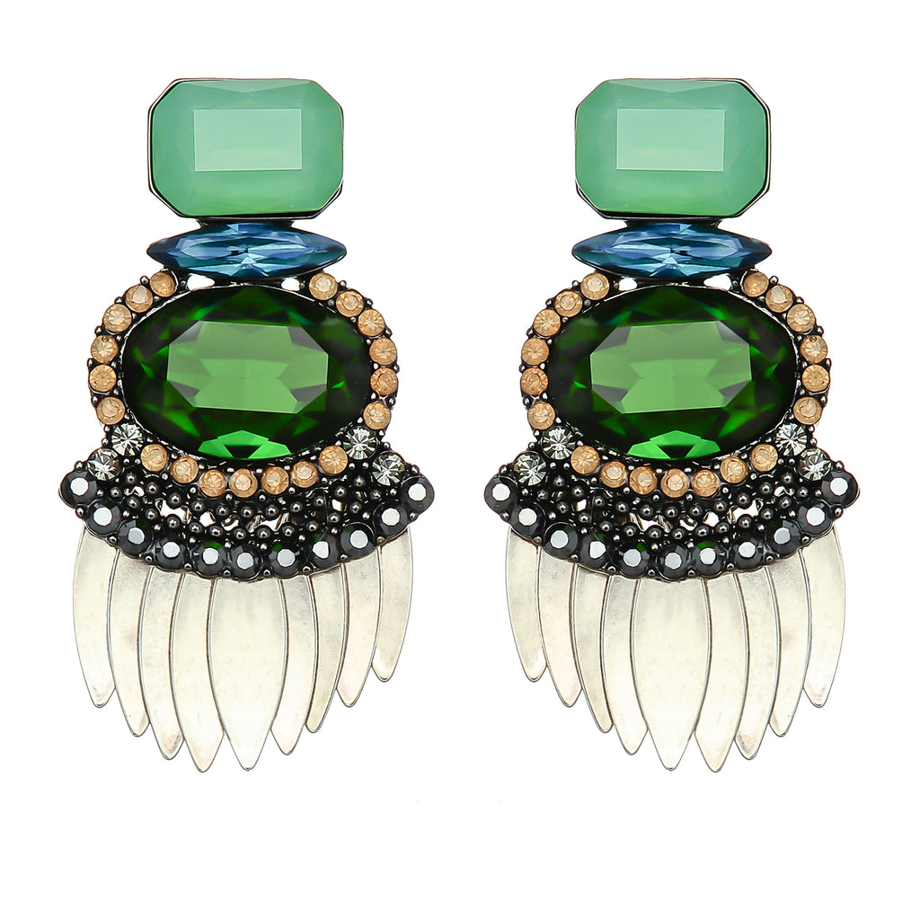 Green & Blue Colored Crystal Earrings