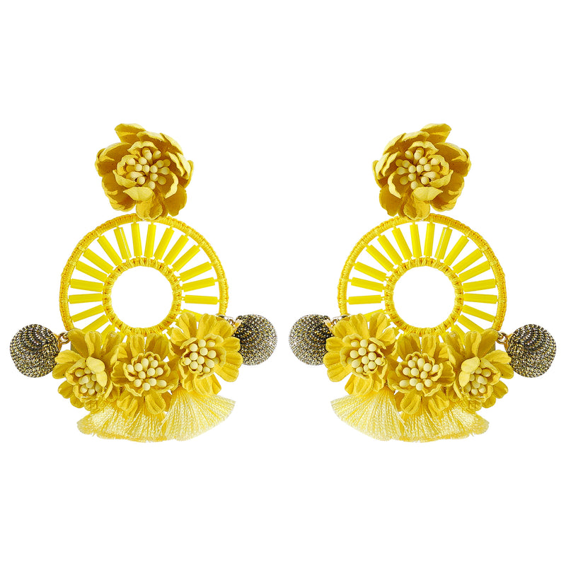 Yellow Flowers Earrings w/ Silk Tassels