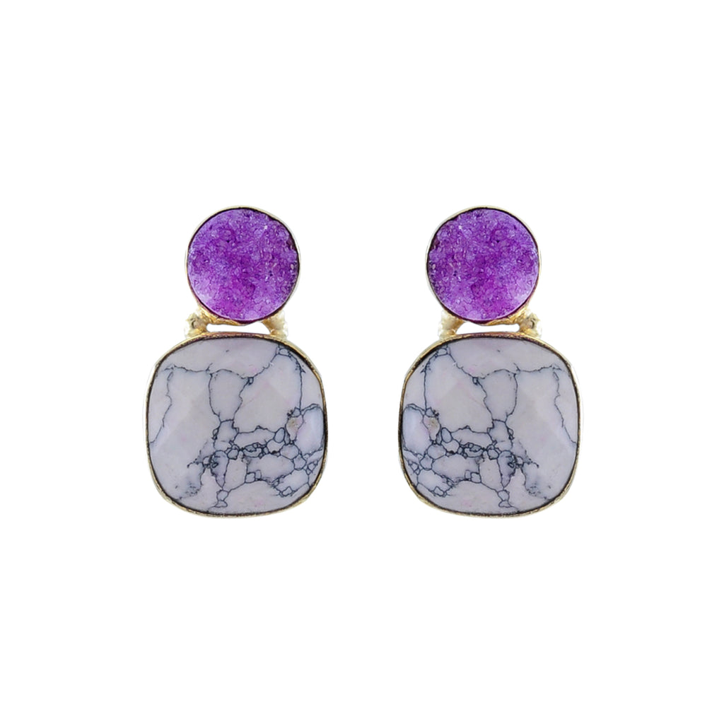 Golden Earrings w/ Purple Stone