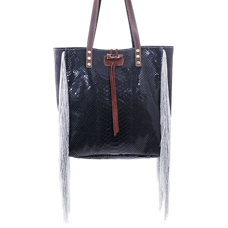 Black Leather Bag with Silver Fringe