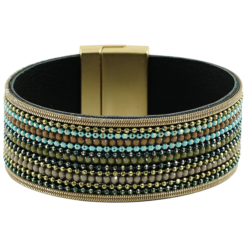 Golden Bracelet w/ Multicolored Crystals