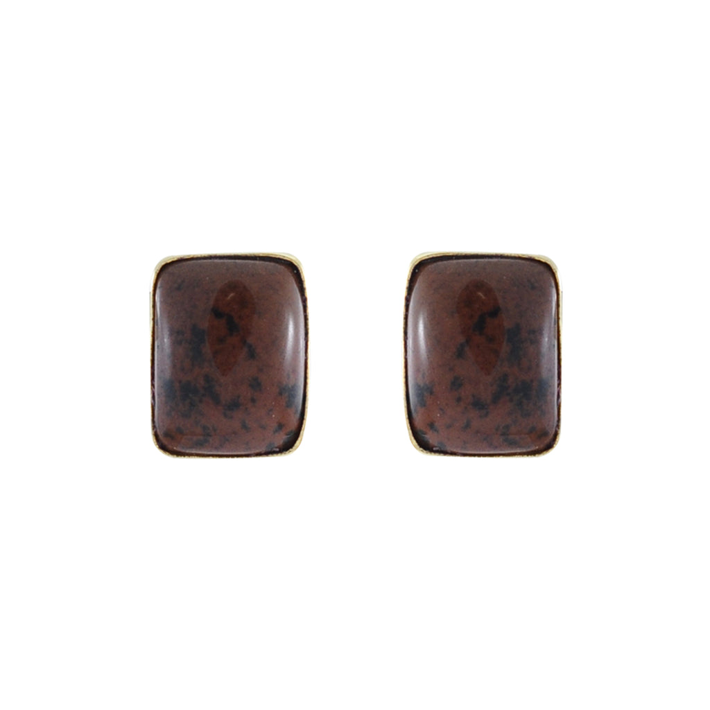 Golden Earrings w/ Brown Stone