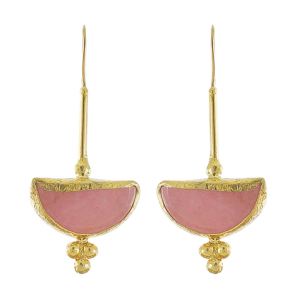 Golden Earrings w/ Pink Jade Stone